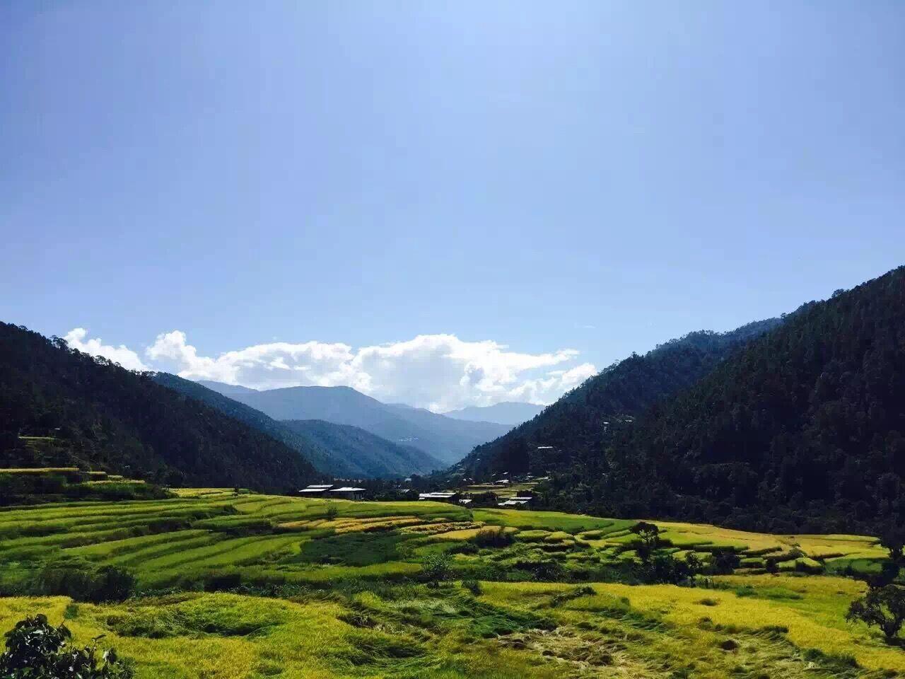 不丹国土与瑞士相仿,而森林面积占国土的 3/ 4,空气非常清新!